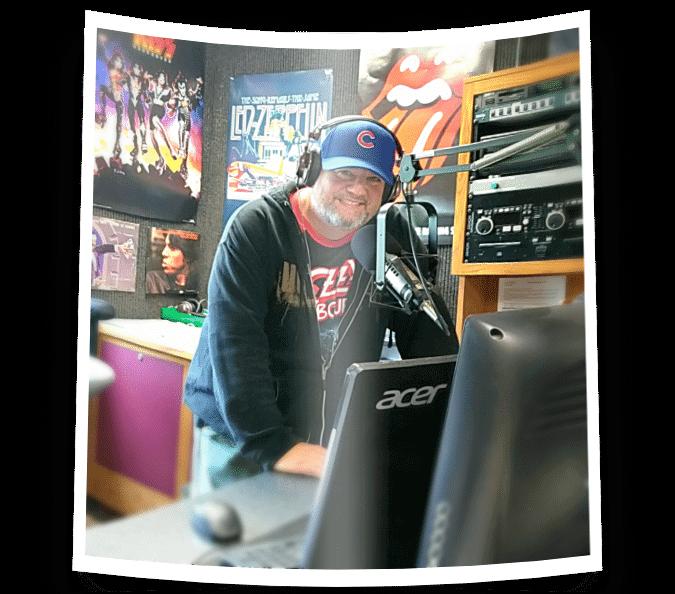 Local DJ in recording studio