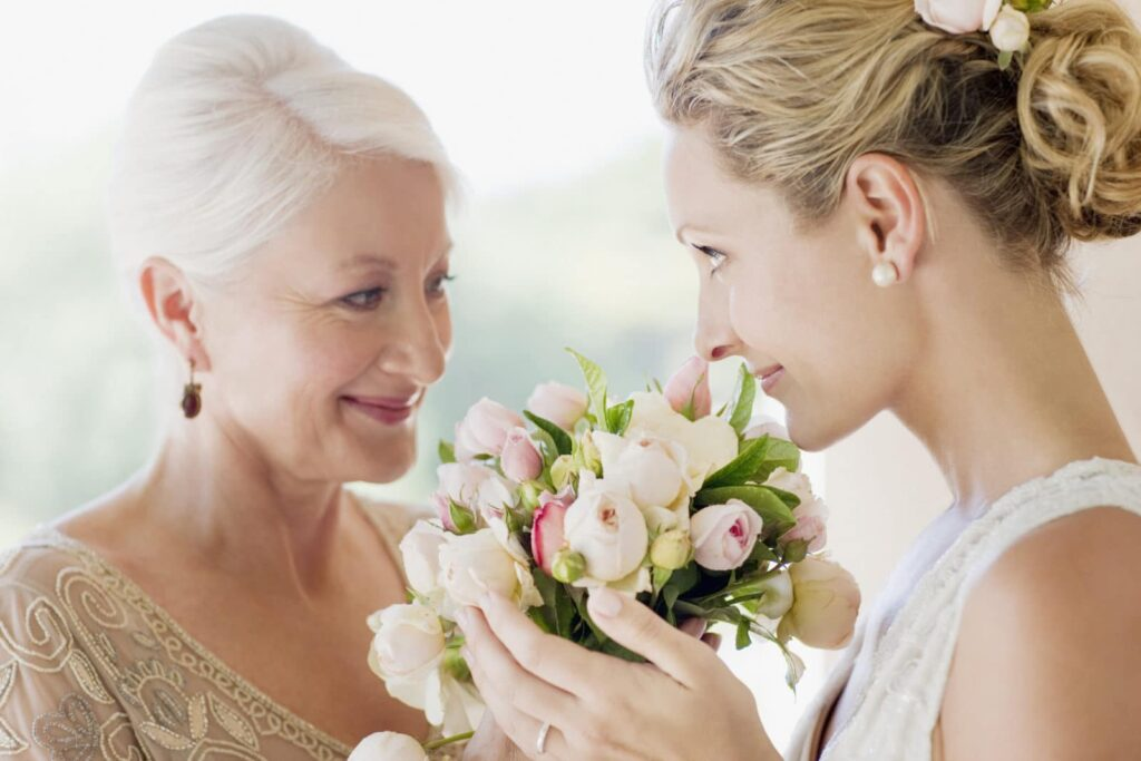 Bride on wedding day with mother