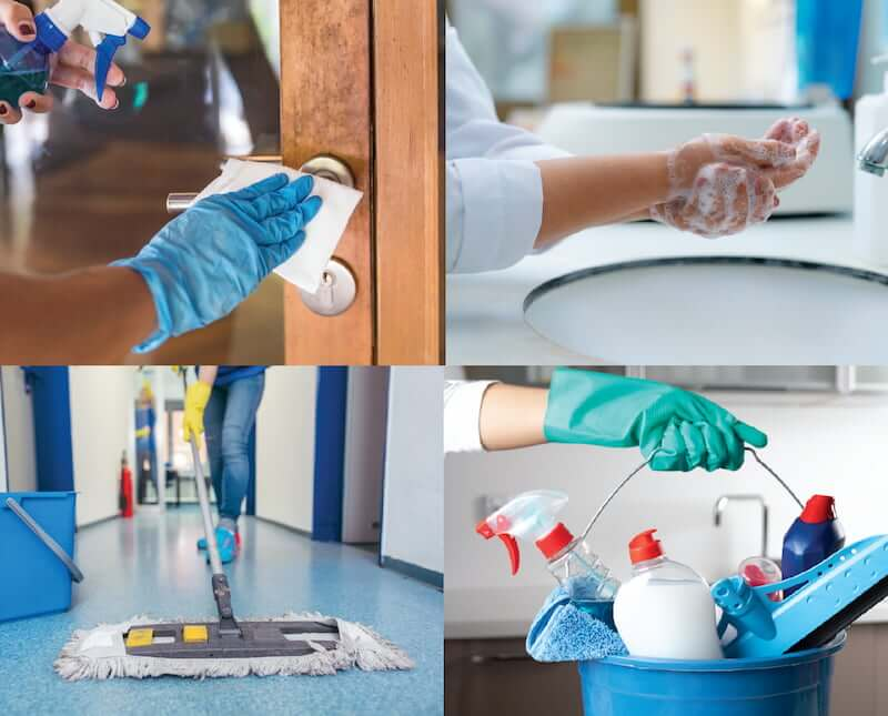 Cleaning door handles, washing hands, mopping floors, cleaning products.