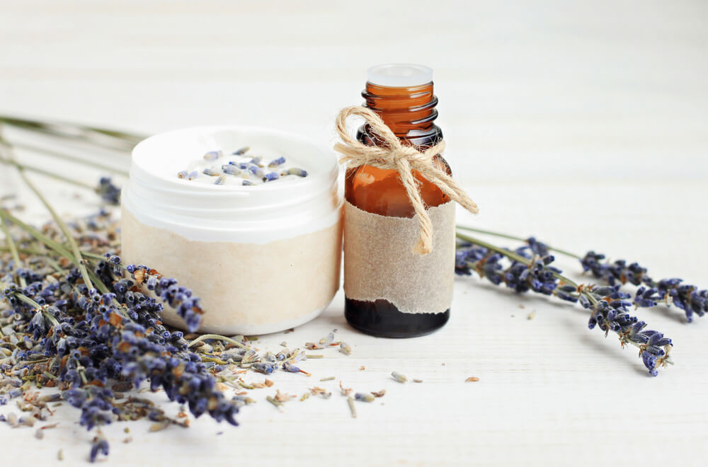 skin care products and dried lavender